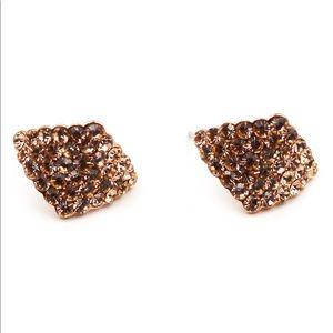 Gold rhombic crystal earrings